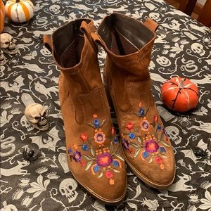 ALDO Limeira Floral Embroidered Boots Cognac